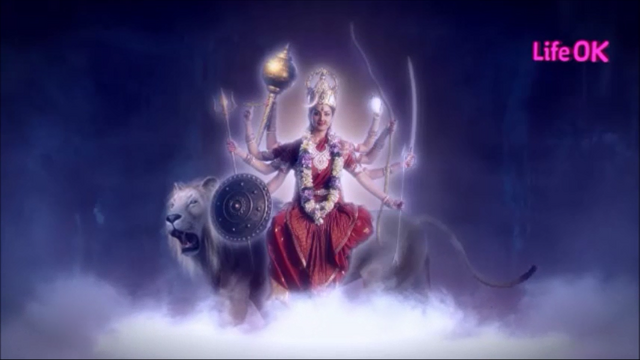 File:Eight-Armed Goddess Durga as Chandraghanta Riding on Her Lion.png