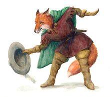 Reineke Fuchs aus einer Fabel sieht seinen Hut.jpg