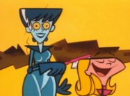 Mom-Droid brushing Dee Dee's hair
