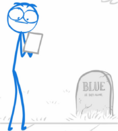 Blue visiting his grave