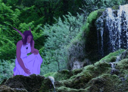 Aneena bei einem Wasserfall