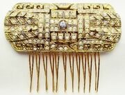 Vhc128 vintage gold deco comb