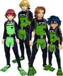 "Marcus Damon, Thomas H. Norstein, Yoshino ""Yoshi"" Fujieda, and Keenan Crier (Green Scuba Suits) dm"