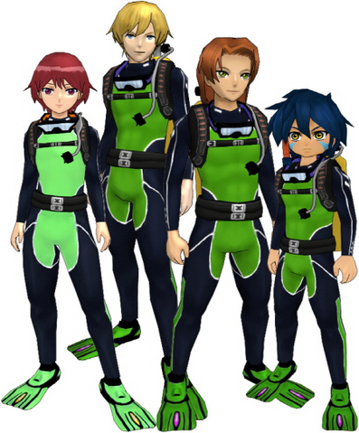 "File:Marcus Damon, Thomas H. Norstein, Yoshino ""Yoshi"" Fujieda, and Keenan Crier (Green Scuba Suits) dm.png"