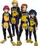 "Marcus Damon, Thomas H. Norstein, Yoshino ""Yoshi"" Fujieda, and Keenan Crier (Yellow Scuba Suits) dm"