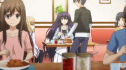Mayuri appearing next to Shido in the restuarant