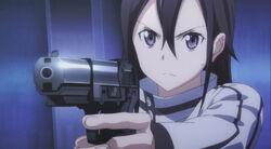 Kirito practicing at a shooting range