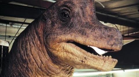 JURASSIC PARK Brachiosaurus Animatronic Puppet Rehearsal