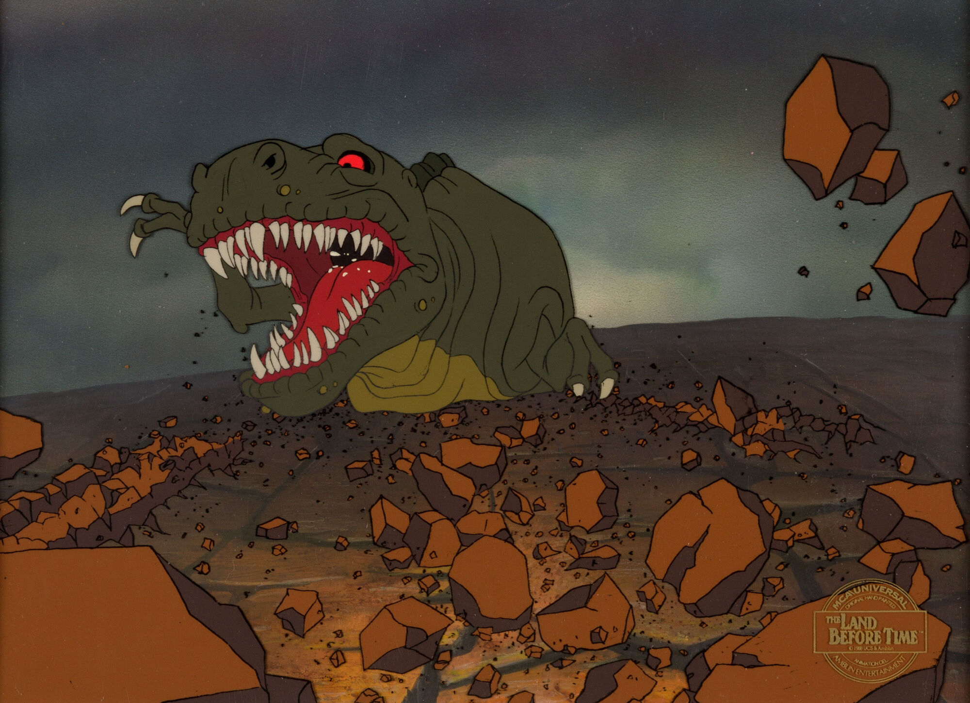 image the land before time sharptooth production cel setup with