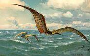 Pteranodon flying ocean