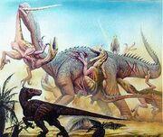 Utahraptors attacking astrodon