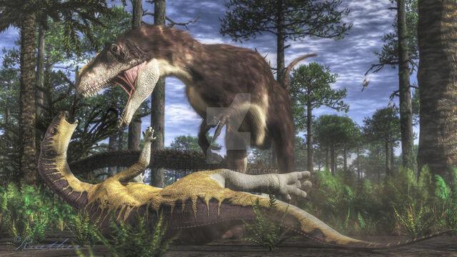 File:Yutyrannus and jinzhousaurus by paleoguy-d8bjtis.jpg