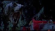 Jurassic park t rex chasing jeep