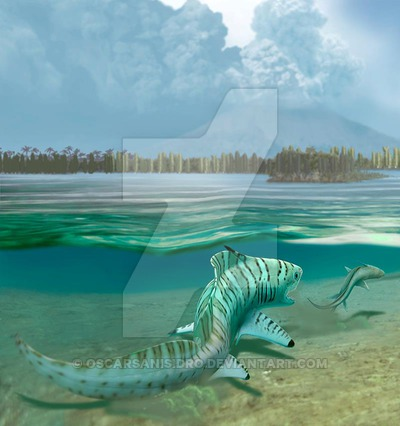 File:Orthacanthus and triodus by oscarsanisidro-d64is8t.jpg