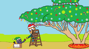 Decorating the Pridelands' first Christmas tree