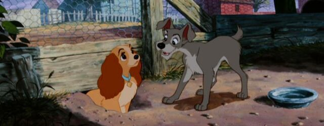 File:Lady and Tramp chase chickens.jpg