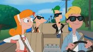Candace, Jeremy, Phineas, and Ferb in the car
