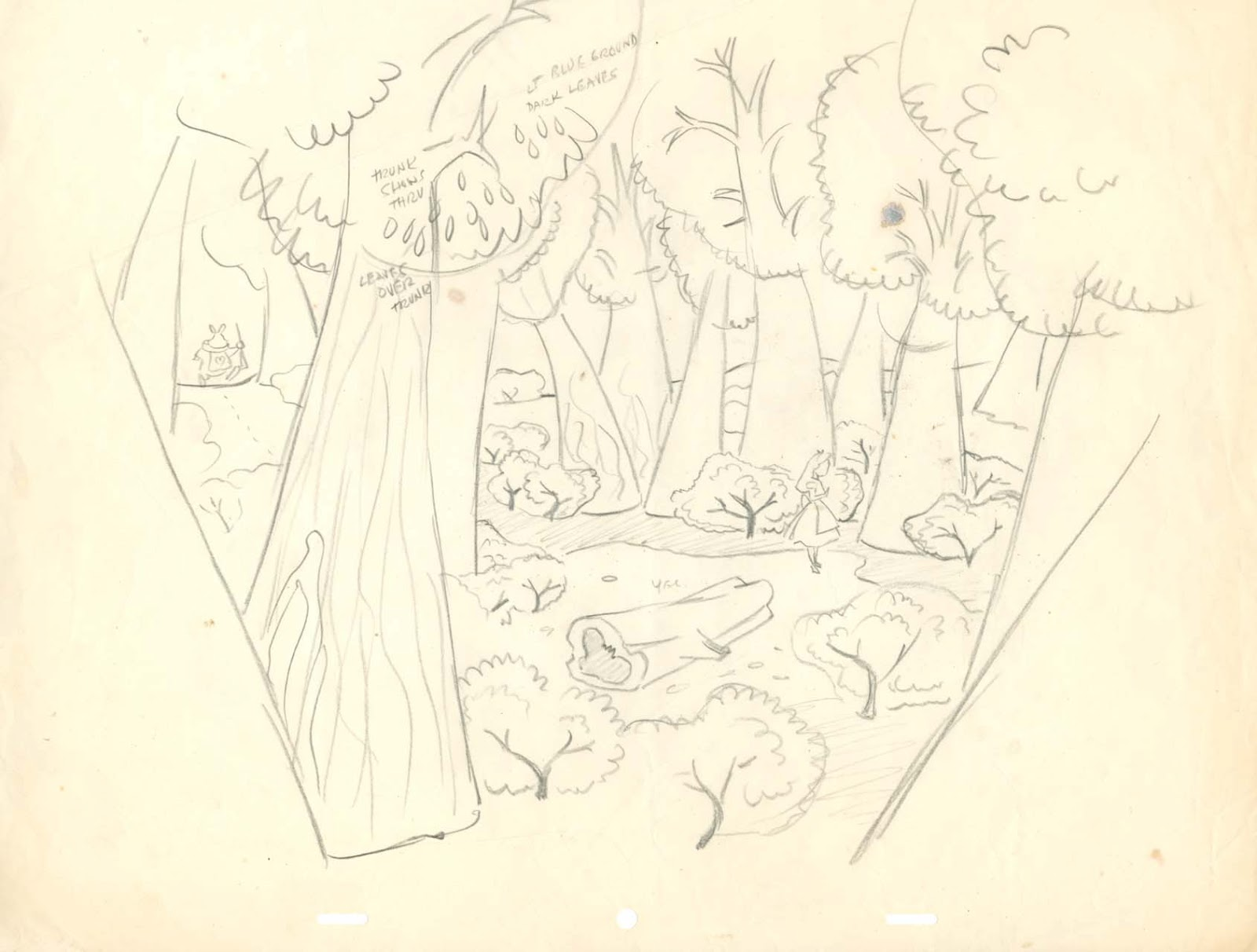 16field Drawing  Tulgey Wood With Alice And White Rabbit Layout Drawing  Blogg