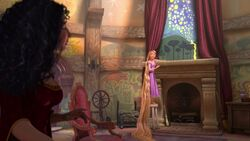Rapunzel pleads with her mother