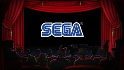 Mickey and friends see the Sega logo in the theater