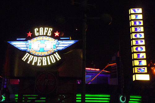 File:The Cafe Hyperion & Videopolis Sign at Night.jpg