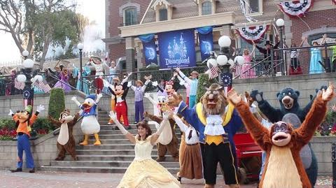 Disneyland 59th anniversary birthday celebration with Dapper Dans, 59 characters