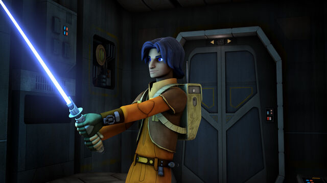 File:Ezra weilds Kanan's lightsaber.jpg