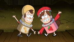 S1e12 Dipper in peanut butter costume Mabel in strawberry jam costume