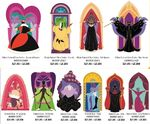 Disney Villains stain glass pin set