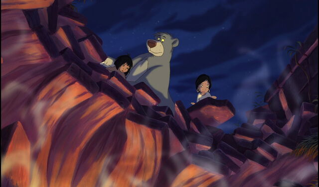File:Mowgli Shanti and Baloo the bear are looking down at the lava pit.jpg