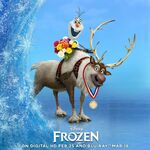 Frozen Olaf and Sven DVD Promational Art