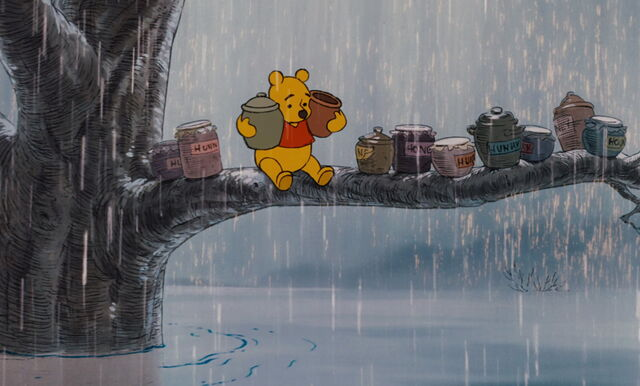 File:Winnie the Pooh is up in a tree with ten honey pots.jpg
