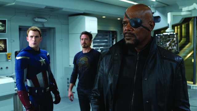 File:Nick Fury, Cap, and Tony in Lab-The Avengers.jpg
