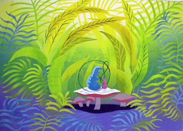 File:Disney's Alice in Wonderland - Caterpillar Concept Art by Mary Blair - 1.jpg