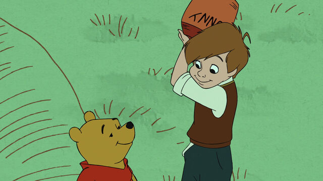 File:Christopher Robin has taken the honey pot off of Pooh Bear's head.jpg