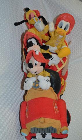 File:15 Walt Disney Main Street Fire Truck Mickey Goofy Pluto Donald Plush Stuffed.jpg
