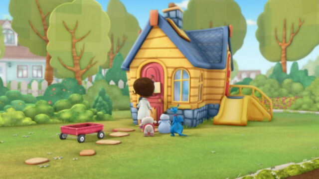File:Doc, lambie, stuffy and chilly entering the clinic.jpg