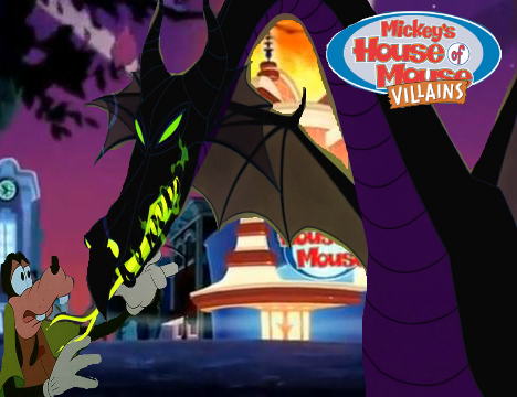 File:Mickey's House of Villains Maleficent & Goofy Poster.png