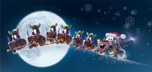 File:Mater and the Cow-Tractors - Christmas Promo at Disneyland.jpg