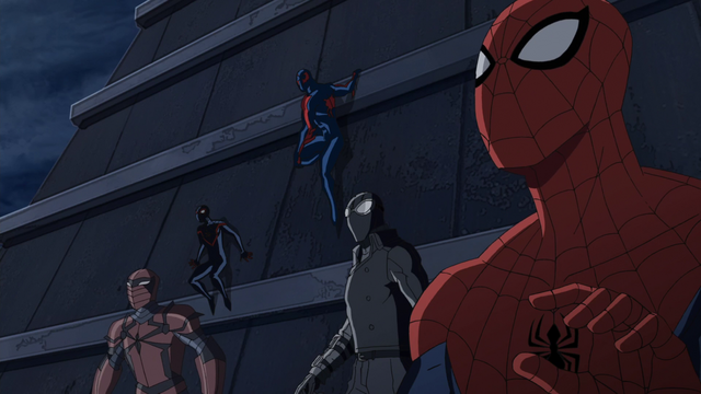 File:Spider-Man 2099, Spider-Man, Spider-Man Noir, Spyder-Knight, Miles Morales USMWW.png