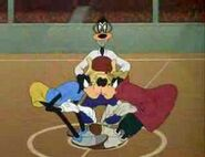 Goofy basketball players about to jump