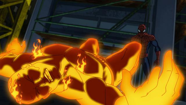 File:Spider-Man takes down Molten Man USMWW.png