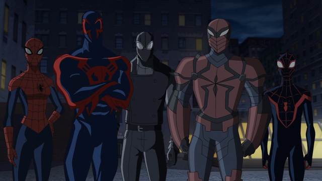 File:Spider-Man 2099, Spider-Girl, Spider-Man Noir, Spyder-Knight, Miles Morales USMWW.png