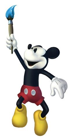 File:Mickey and the brush. Epic Mickey 2 art.jpg