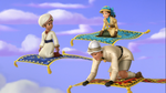 Zandar, Miranda and Roland riding Magic Carpets