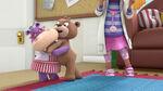 Teddy b gives hallie a hug