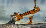 Tigger is shouting in the hollow log