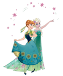 Anna and Elsa Frozen Fever 2D Render