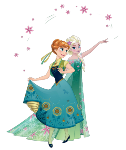 File:Anna and Elsa Frozen Fever 2D Render.png
