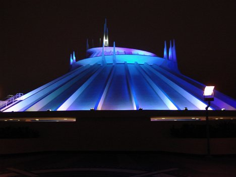 File:Space Mountain Disneyland at Nighttime.jpg